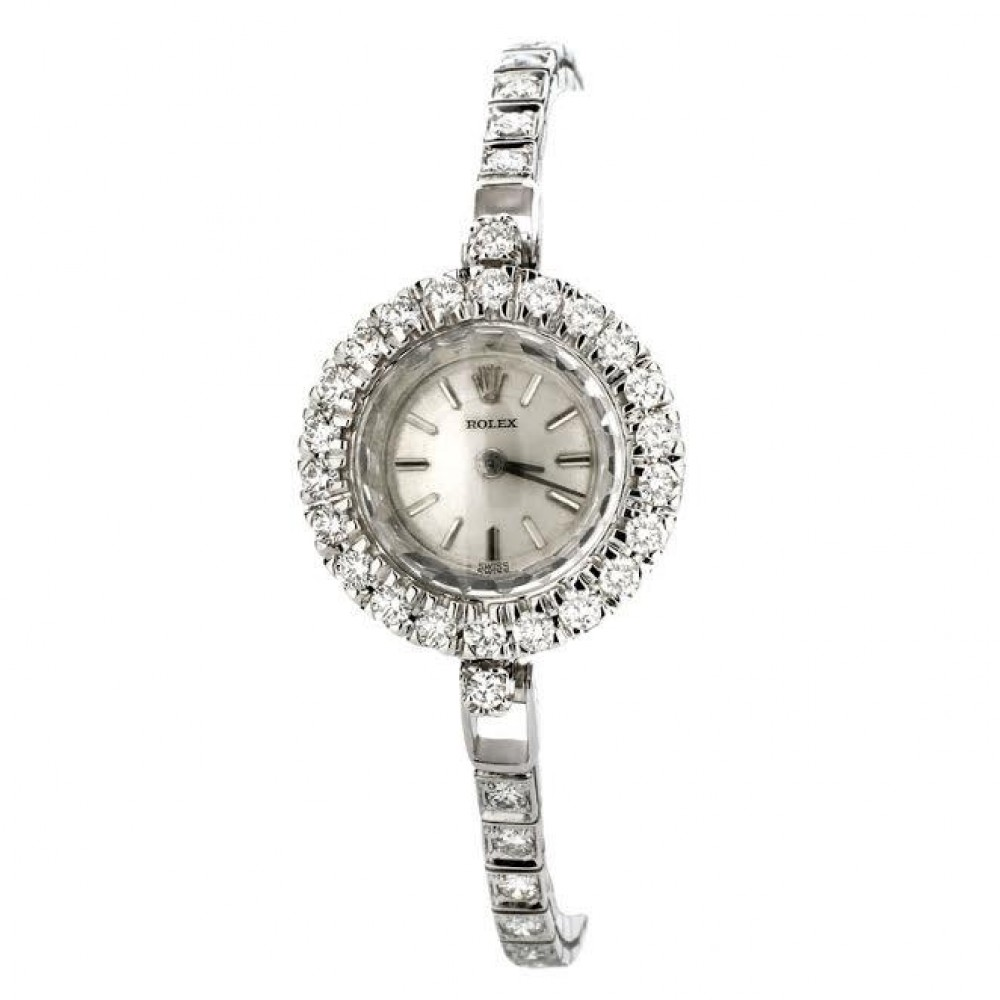 Vintage Ladies Rolex 14K White Gold & Diamond Wristwatch & Bracelet